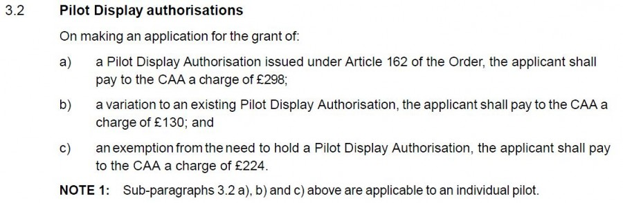 Pilot Display Authorisation Costs from ORS5 No. 307
