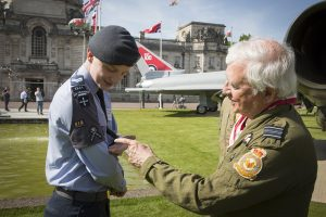 A former RAF pilot chats to a Cardiff Air Cadet at the RAF100 Aircraft Tour in Cardiff