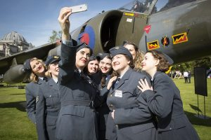 The cast of 'Girlfriends' a play about female members of the RAF in the Second World War take a selfie at the RAF100 Aircraft Tour in Cardiff