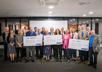 Eastbourne Blind Society, Parkinson's UK (Hailsham) and The Chaseley Trust receive donation cheques from Airbourne Project Board
